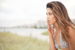 Woman expressing concern Royalty Free Stock Image