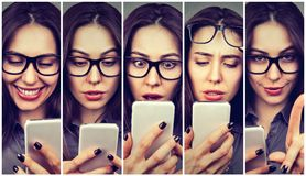 Woman expressing different emotions using smartphone. Collage of a woman expressing different emotions using smart phone Stock Image