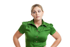 Woman expressing doubt Royalty Free Stock Image