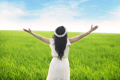 Woman expressing freedom. Freedom: Woman with opened arms enjoying the view Royalty Free Stock Photo