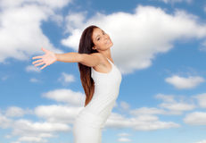 Woman expressing her freedom Stock Photo