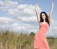 Woman expressing positivity Royalty Free Stock Photos