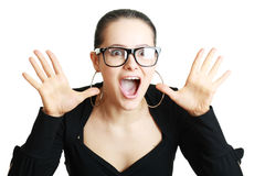 Woman expressing shock Royalty Free Stock Photo