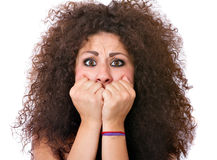 Woman expression afraid Stock Image