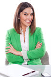 Woman with expression of confidence and cheerful Royalty Free Stock Photography