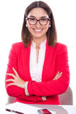 Woman with expression of confidence and cheerful stock images