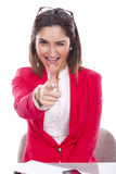 Woman with expression of confidence and cheerful Royalty Free Stock Images