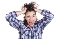 Woman expression frazzled Royalty Free Stock Photos