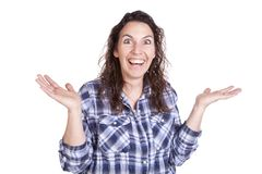 Woman expression happy hands up Royalty Free Stock Photography