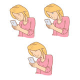 Woman expression looking at phone Royalty Free Stock Photography