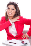 Woman expression of pain and discomfort at work. Woman beautiful expression of pain and discomfort at work Royalty Free Stock Photos