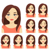 Woman expression set Royalty Free Stock Photos