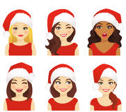 Woman expression set in santa hat. Set of women with different facial expressions in christmas santa hat isolated Stock Image