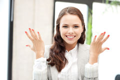 Woman with expression of tryumph Royalty Free Stock Images