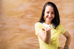 Woman with extended hand. Smiling Stock Photos
