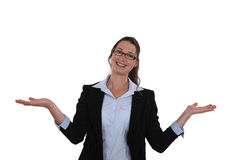Woman extending her hands Royalty Free Stock Photography