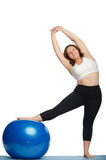 Woman with extra weight makes slopes blue ball Stock Photography