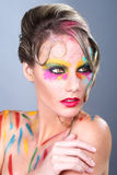 Woman With Extreme Makeup Design With Colorful Powder Royalty Free Stock Photos