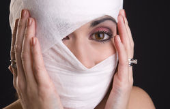Woman Extreme Pain Hands Holding Head Wrapped First Aid Stock Photo
