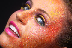 Woman With Extreme Spattered Make Up on the Face Royalty Free Stock Photography