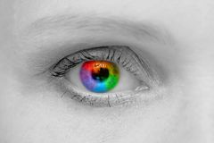 Woman eye. Macro shoot with rainbow pupil Stock Photos