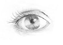 Woman eye. Close-up of woman eye. Black and white drawing Royalty Free Stock Photo