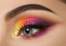 Woman eye with beautiful colourful makeup Royalty Free Stock Images