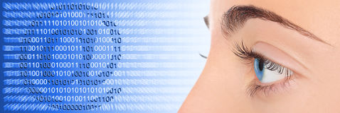 Woman eye on blue technology e-mail background. Concept Stock Images