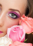 Woman eye with bright make-up Stock Photography