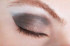 Woman eye, bronze smokey make up. Woman eye with bronze smokey make up Stock Images