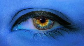 Woman Eye Close-up Macro With Long Eyelashes And Professional Blue Make-up In Blue Neon Light Royalty Free Stock Photos