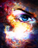 Woman eye in cosmic background. Painting and graphic design. Woman eye in cosmic background. Painting and graphic design Stock Images