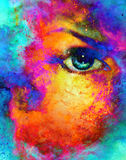 Woman eye in cosmic background. Painting and graphic design. Fire effect. Royalty Free Stock Image