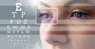 Woman with eye focus box detail and lines and Eye test interface Stock Photos