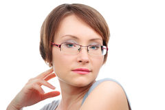 Woman with eye glasses Stock Images