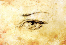 Woman eye, Hand draw on paper, fashion illustration. And old vintage paper structure. Royalty Free Stock Images