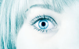 Woman eye in hi-tech style. Blue tint royalty free stock photos