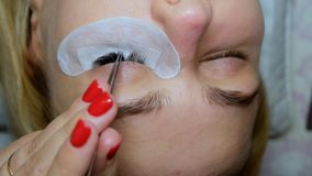 Woman Eye with Long Eyelashes. Eyelash Extension.  stock video footage