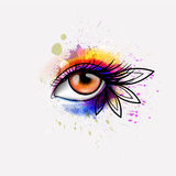 Woman eye made colorful splashes. Creative makeup concept Royalty Free Stock Photo