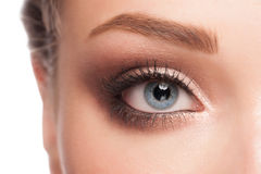Woman eye with makeup. Close-up image of beautiful woman blue eye with bright fasion makeup Stock Photography