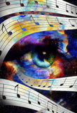 Woman Eye and music note and cosmic space with Stock Image