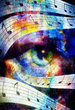 Woman Eye and music note and cosmic space with Stock Photography