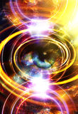 Woman Eye and music note and cosmic space with stars. abstract color background, and yellow light, fire circle. eye Royalty Free Stock Photo