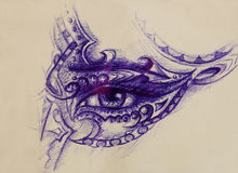 Woman eye with ornament, pen drawing, eye contact. Royalty Free Stock Photos
