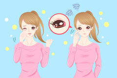 Woman with eye pain. Cute cartoon feel eye pain with hay fever on blue background royalty free illustration