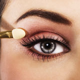 Woman eye with pink makeup Royalty Free Stock Photo