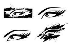 Woman Eye Set. Woman Abstract MakeUp Eye Collection in Black and White Royalty Free Stock Photo