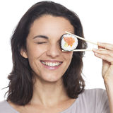 Woman with eye sushi Stock Image