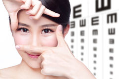 Woman and eye test chart Stock Images