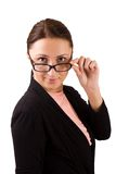 Woman in eyeglasses looking at you Royalty Free Stock Image